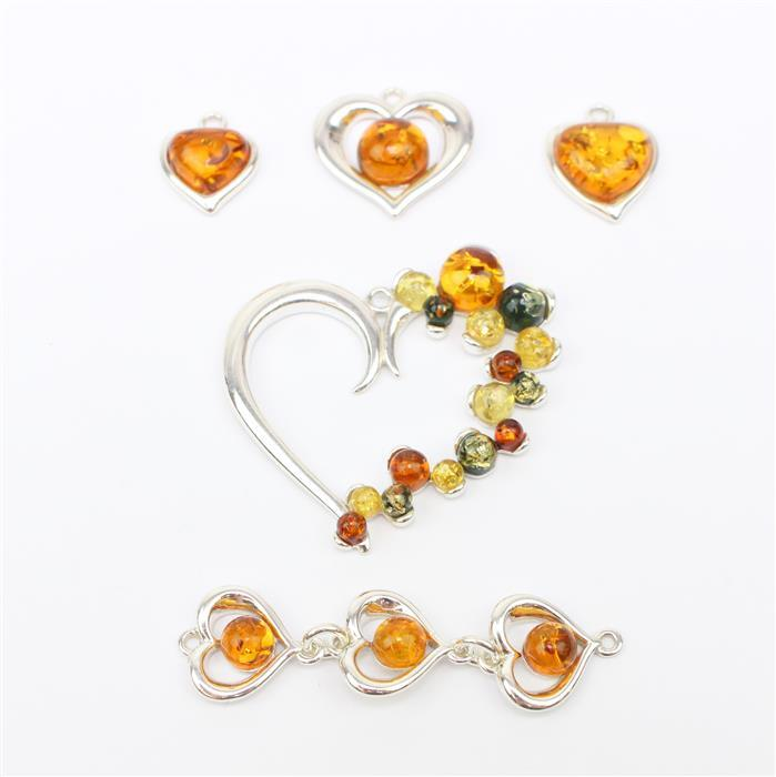 Jar Of Hearts! Inc; 5 x Heartshape Baltic Amber Charm, Pendant & Connectors!
