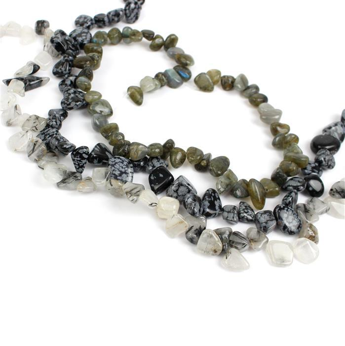 Triple trouble Labradorite,Snowflake Obsidian @ Black Rutilated Quartz Nuggets