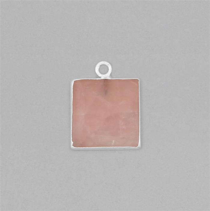 20cts Silver Electroplated Rose Quartz Smooth Square Pendant Approx 18mm With 4mm Loop.(1pcs)