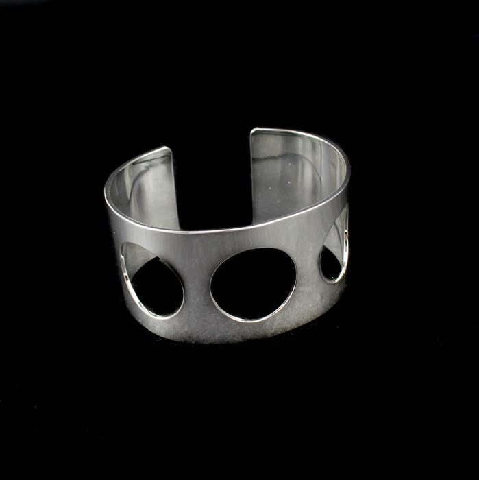 Silver Plated Brass Cuff w/ x3 Cut-Outs, Approx 65x35mm (1pk)