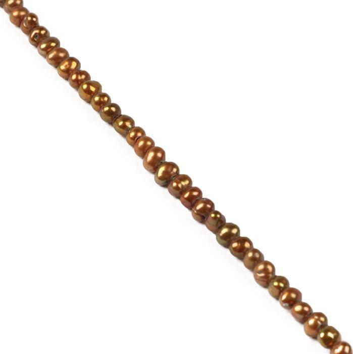 Bronze Freshwater Cultured Potato Pearls Approx 3x2mm, 38cm Strand