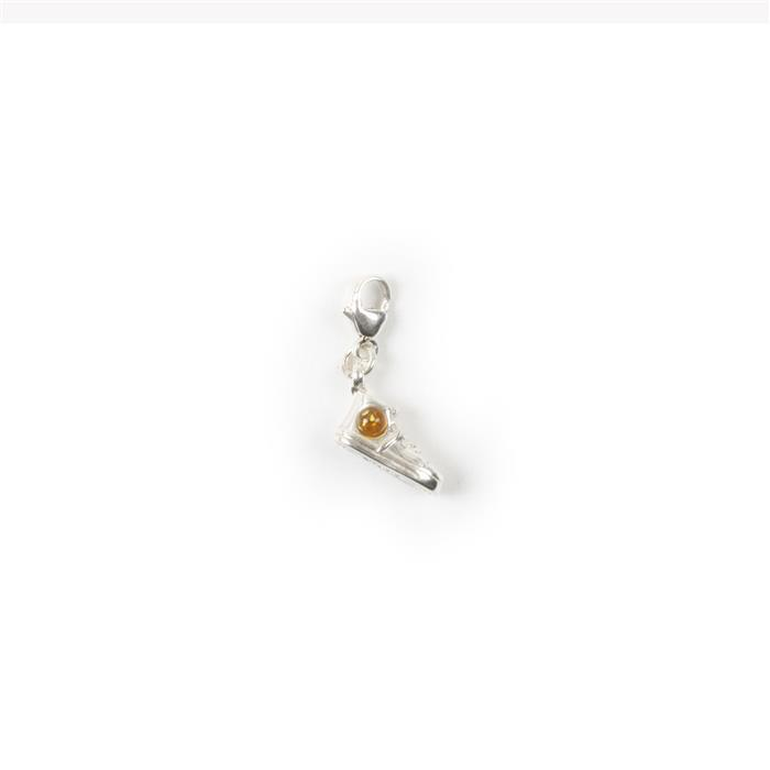 Baltic Cognac Amber Sterling Silver Charm Approx 25x6mm