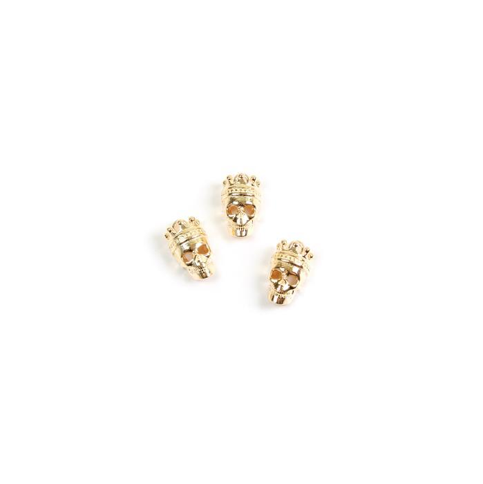 Gold Plated 925 Sterling Silver Crown Skull Charms Approx 10x6mm, 3pk