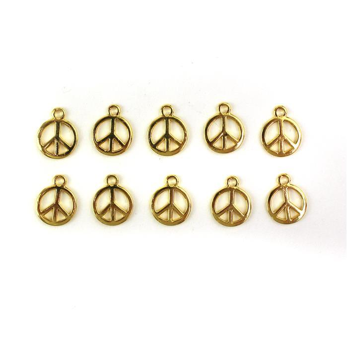 Gold Colour Base Metal Peace Charms, Approx 15X12mm (10pcs)