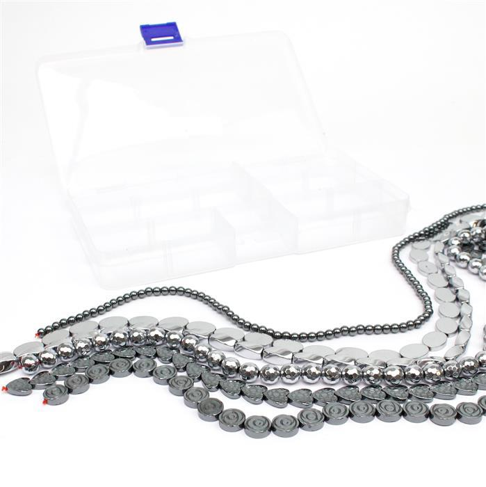 12pm Mega Deal - 1160cts Silver & Black Haematite, Mix Shapes & Sizes 6 Strands in Total