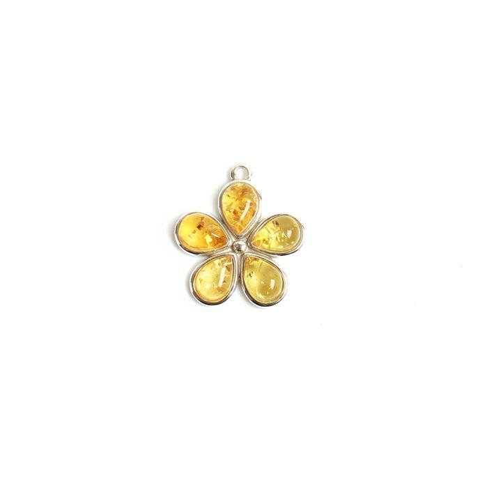 925 Silver Baltic Lemon Amber Drop Cabochon Flower Pendant Approx 20mm