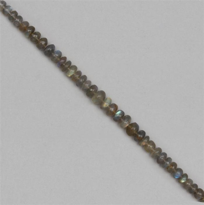 100cts Labradorite Graduated Plain Rondelles Approx 4x2 to 9x5mm, 20cm Strand.