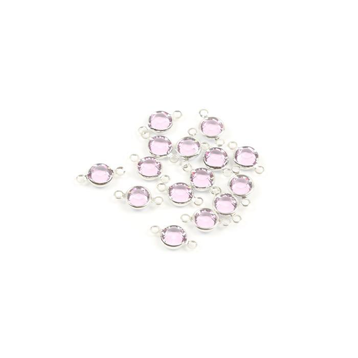 Swarovski Crystal Light Amethyst with Channel Setting Rhodium Plated 2 Ring Connectors - 15pk