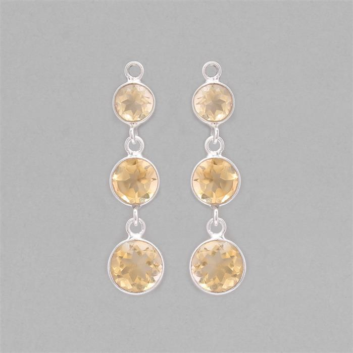 925 Sterling Silver Bezel Triple Earring Drops Approx 35x9mm Inc. 7.2cts Citrine Faceted Round (1 Pair)