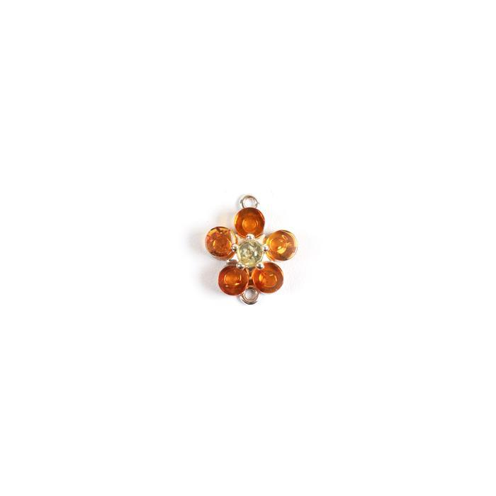 Baltic Cognac and Lemon Amber Flower Connector , Sterling Silver, Approx 16x12mm
