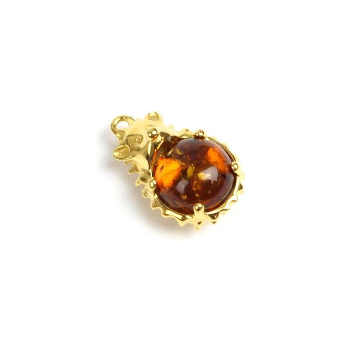 Gold Plated Sterling Silver Baltic Cognac Amber Hedgehog Pendant Approx 19x12mm