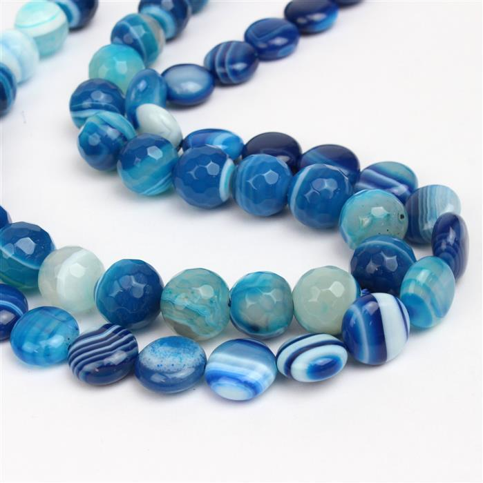True Blue; Blue Stripe Agate Puffy Coins Approx 12mm, and Faceted Rounds approx. 10mm