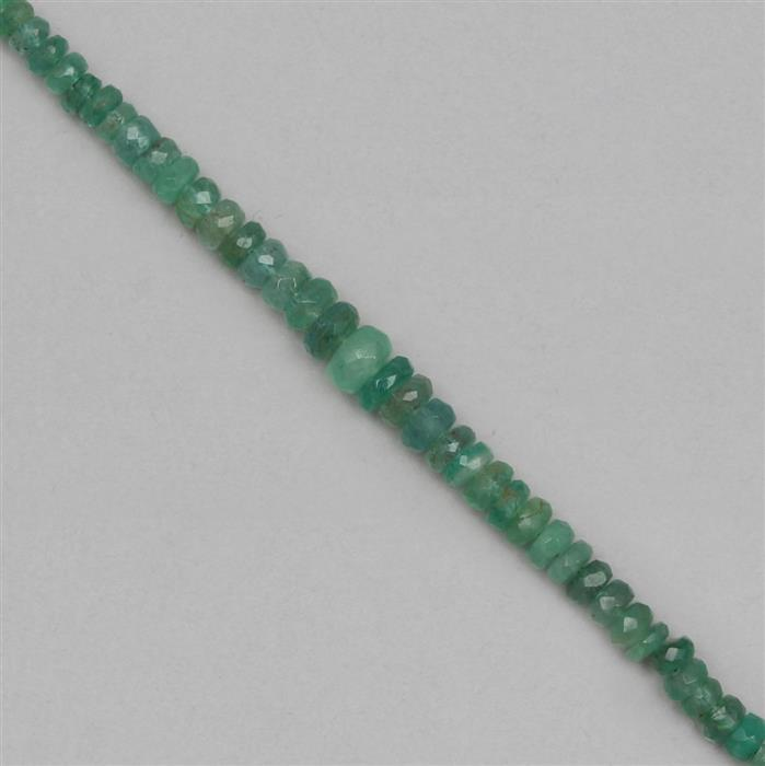 24cts Zambian Emerald Graduated Faceted Rondelles Approx 2x1 to 5x2mm, 21cm Strand.