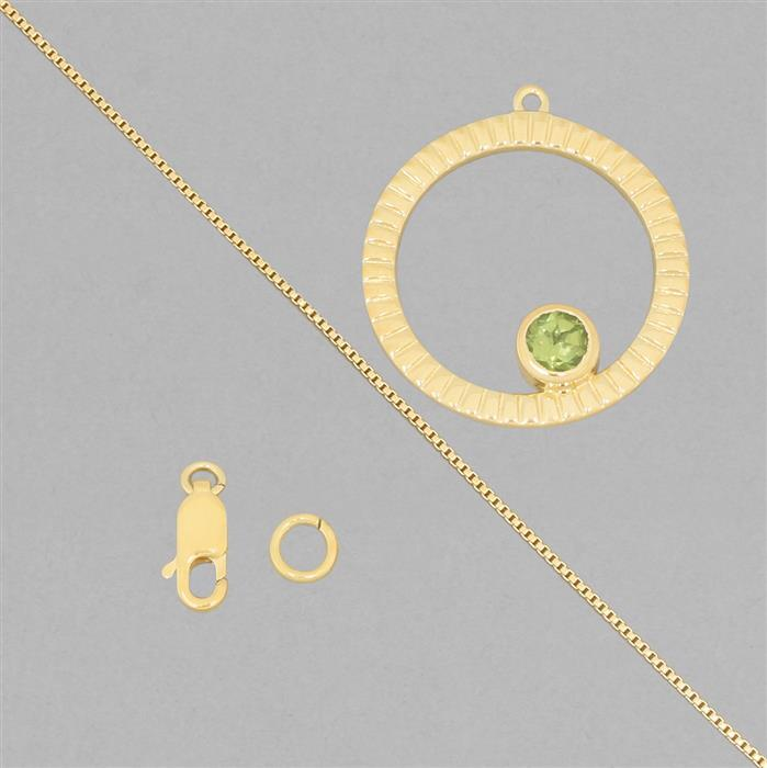 Birthstone Kit: Gold Plated 925 Sterling Silver Birthstone Necklace Kit Inc. 0.52cts Peridot Round Approx 5mm