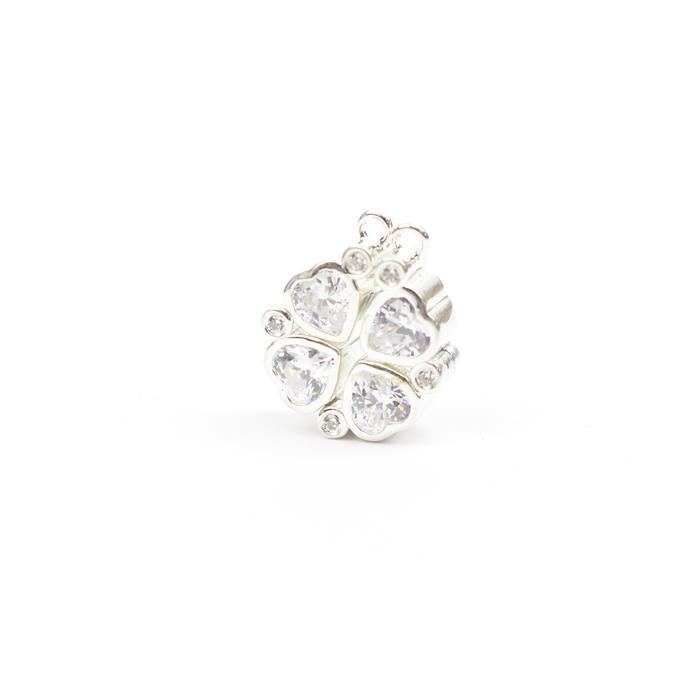925 Sterling Silver Clear Heart Cubic Zirconia Set Magnetic Connector Approx 31mm, 1pcs