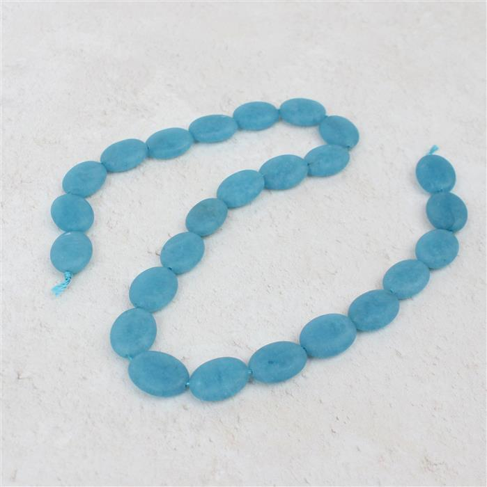 170cts Aqua Frosted Quartzite Puffy Ovals Approx 16x12mm, 38cm