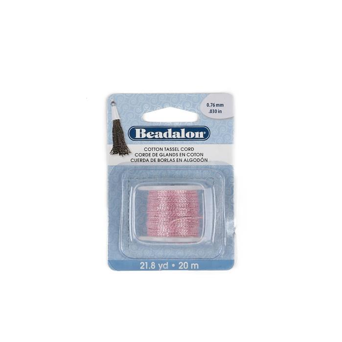 20m Beadalon Cotton Tassel Cord Metallic Silver on Pink