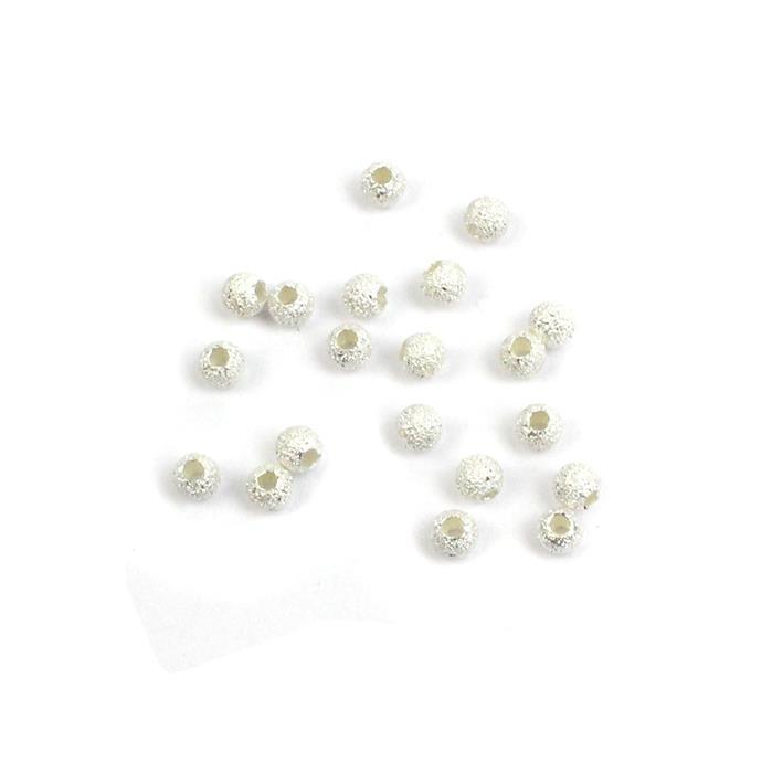 925 Sterling Silver Round Stardust Spacer Beads Approx 3mm (20pcs)