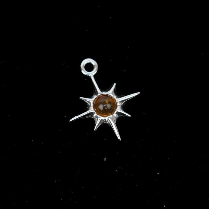Baltic Cognac Amber Star Charm Sterling Silver Approx 16x13mm