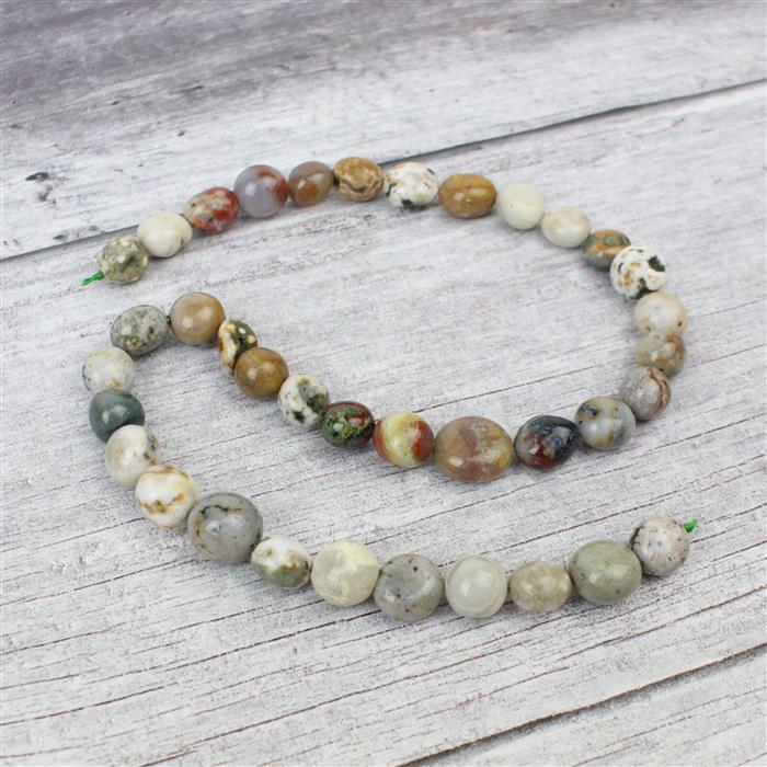 Min 230cts Ocean Jasper Nuggets Approx 12x10to 14x11mm 38cm strand