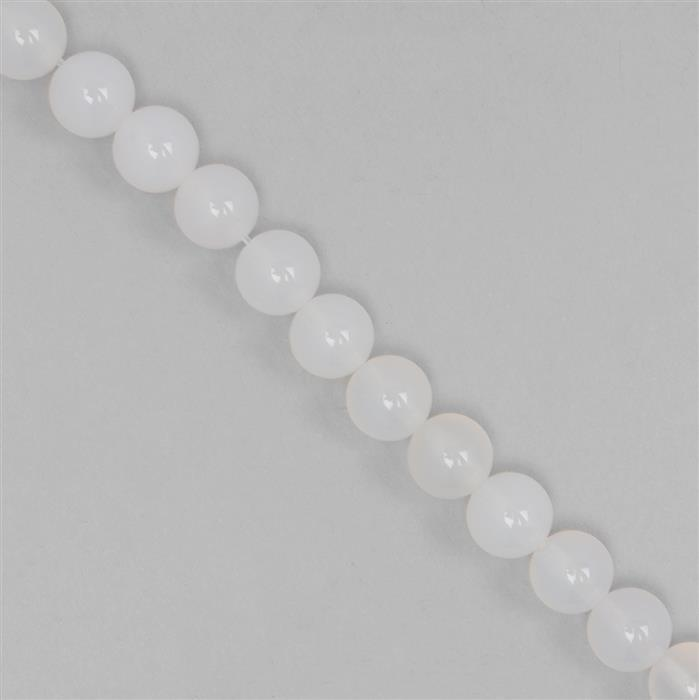 170cts White Agate Plain Rounds Approx 8mm, 37cm Strand.