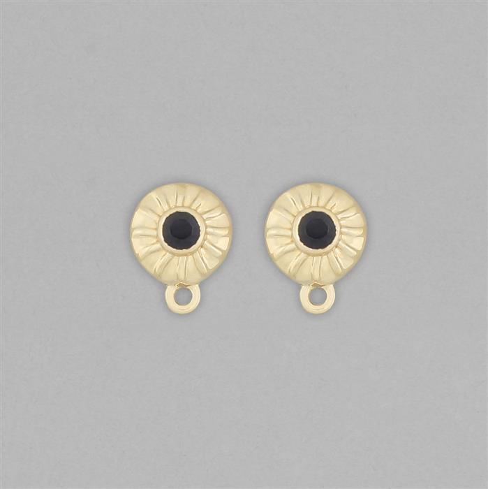 Gold Plated 925 Sterling Silver Stud Earrings with Loops Approx 11x8mm Inc. 0.30cts Blue Sapphire Round Approx 3mm