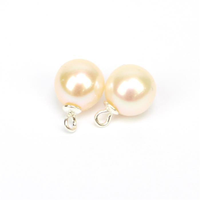 White Half drilled Freshwater Cultured Round Pearls Pendants/Charms  Approx 8x11mm, 2pcs/pk