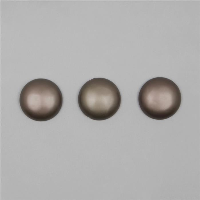 Mocha Frosted Shell Pearl Round Cabochon Approx 30mm (3PCS)