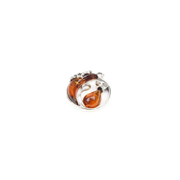 Baltic Cognac Amber Cat & Moon Sterling Silver Charm Approx 16x18mm