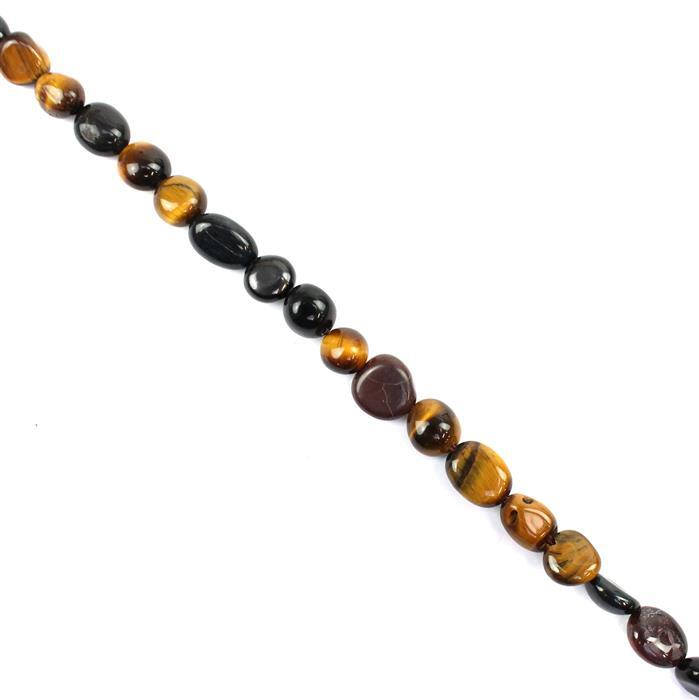 70cts Multi-Colour Tigers Eye Irregular Small Tumbles from approx 4x5mm to 8x10mm, 38cm strand