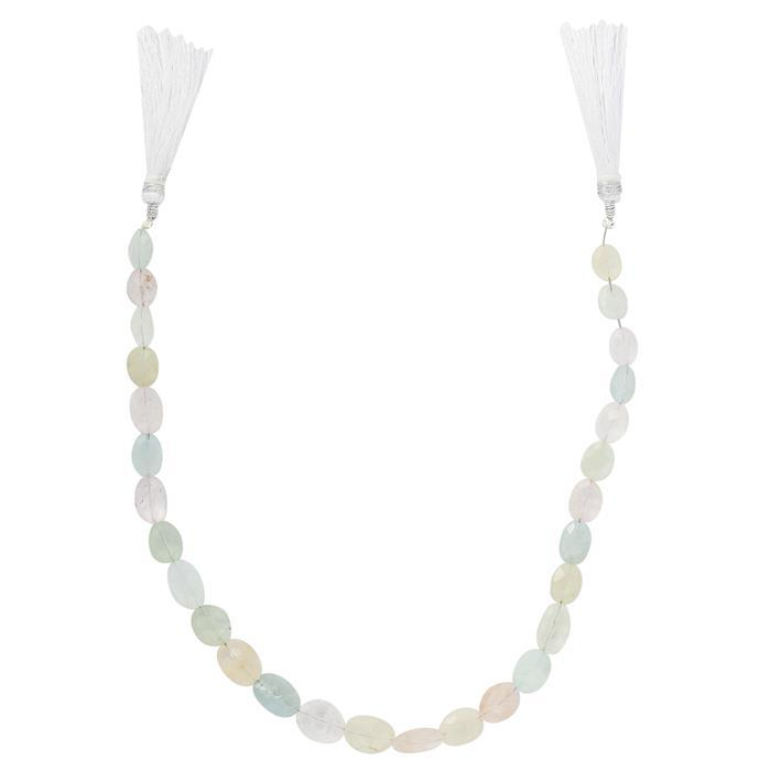 70cts Multi Colour Beryl Graduated Faceted Ovals Approx 7x6 to 14x9mm, 26cm Strand.