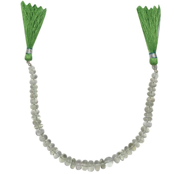 85cts Green Amethyst Graduated Plain Rondelles Approx 4x2 to 9x4mm, 20cm Strand.