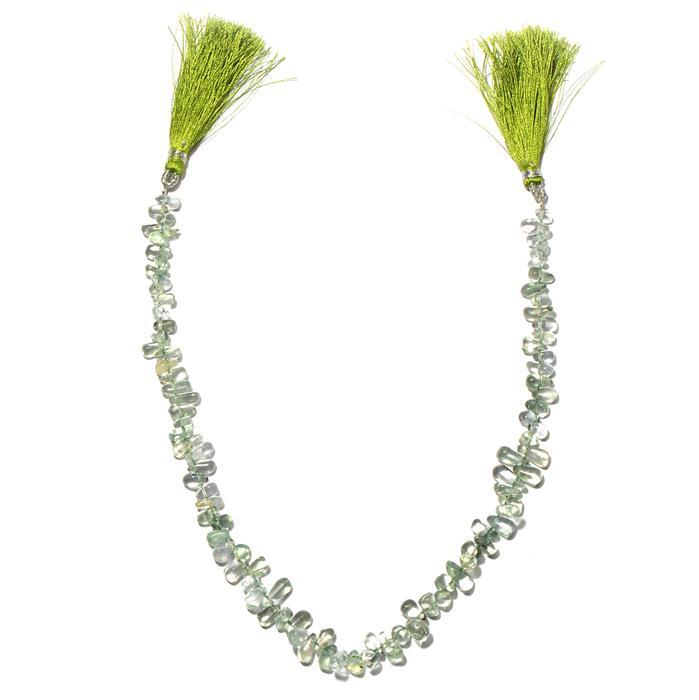 80cts Green Amethyst Graduated Plain Irregular Drops Approx 4x2 to 10x5mm, 30cm Strand.
