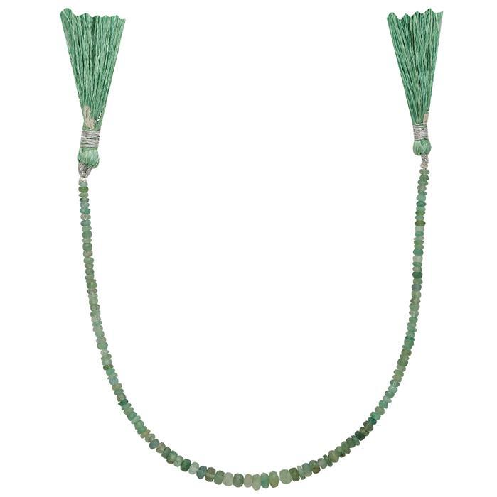 15cts Emerald Graduated Faceted Rondelles Approx From 2x1 to 4x1mm, 21cm Strand.