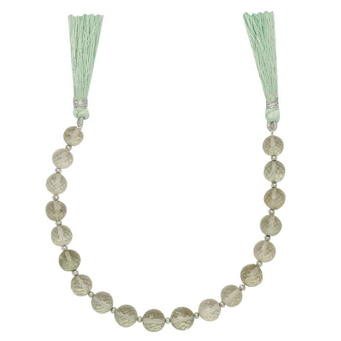 85cts Green Amethyst Graduated Faceted Rounds Approx 7 to 10mm, 22cm Strand.