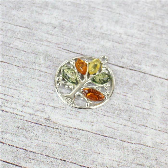 Baltic Multi-Coloured Amber Tree Sterling Silver Charm Approx 18x20mm