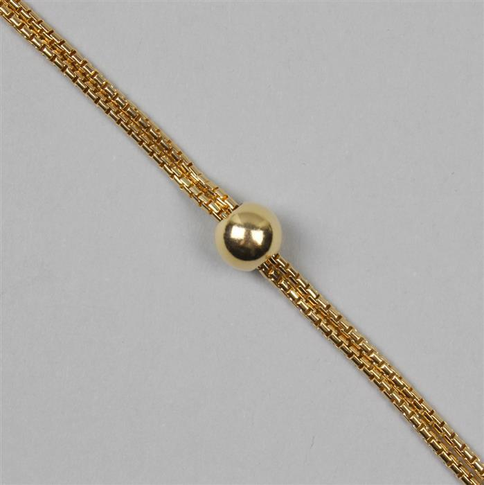 Gold Plated 925 Sterling Silver Bracelet with Slide Ball, 1.8mm Round Box Chain with 9mm Slider