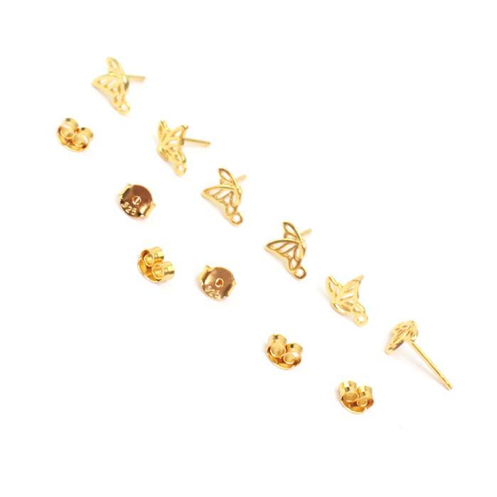Gold Plated 925 Sterling Silver Filigree Butterfly in Flight Earring with Loop Approx 6x9mm 3 Pairs