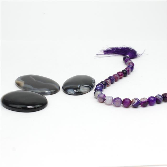 Black Agate! Inc; Multi Cabochons & Faceted Rounds.