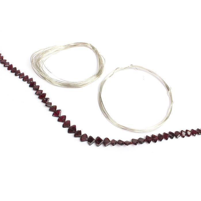 Brilliant! Garnet faceted & graduated Trilliants with 0.4 & 0.8mm sterling silver wires