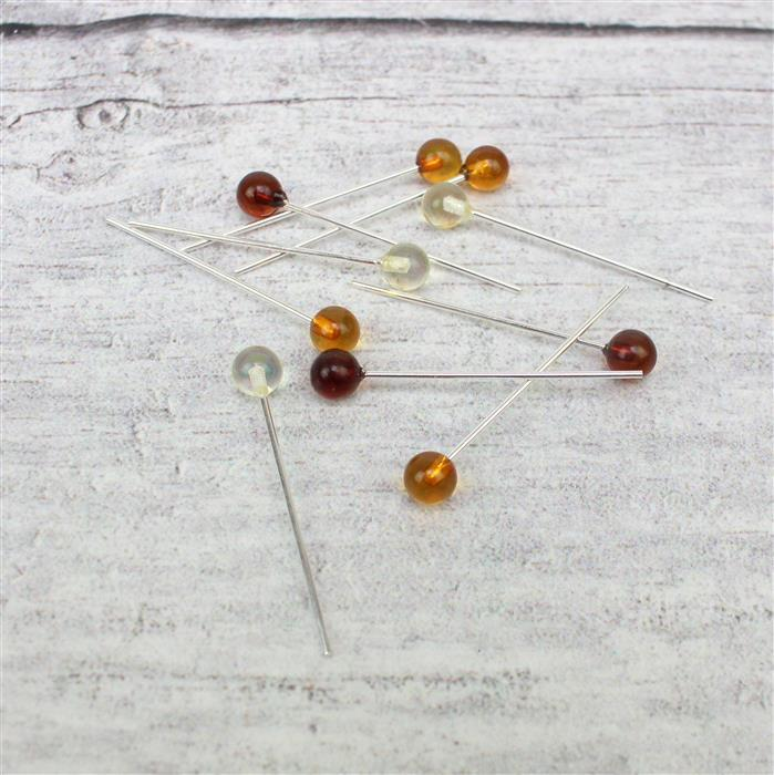 Baltic Multi-Colour Amber 5mm Round bead 32mm ,Sterling Silver Headpins (10pcs)