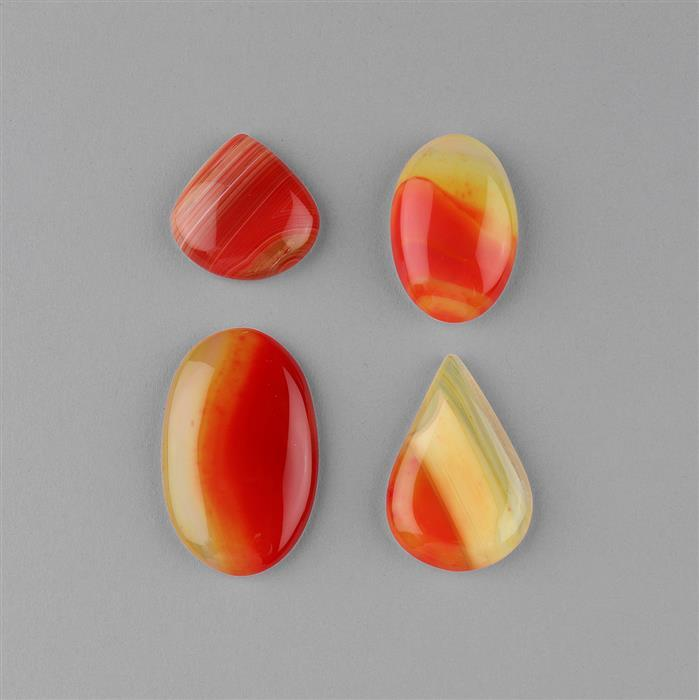 195cts Orange Banded Agate Multi Shape Cabochons Assortment.
