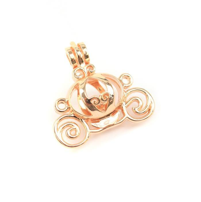 Rose Gold Plated 925 Sterling Silver Princess Carriage Locket Pendant Approx 25mm, 1pcs