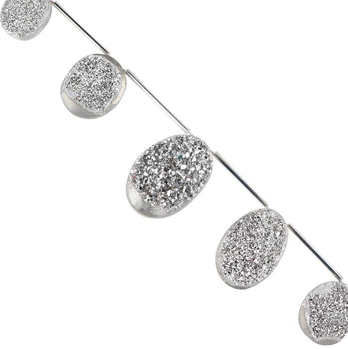 165cts Silver Color Coated Druzy Quartz Graduated Top Drilled Ovals Approx 20x15 to 28x20mm, 14cm Strand.