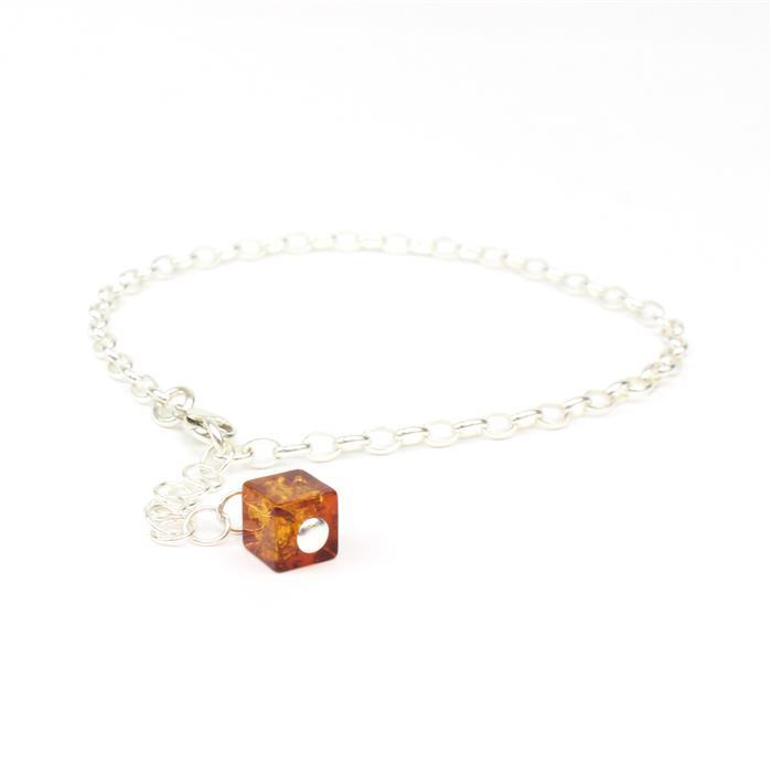 925 Silver Chain Charm Bracelet with Baltic Cognac Amber Square Bead Approx 6mm 7
