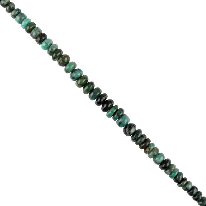 145cts Emerald Graduated Plain Rondelles Approx 7x3 to 9x6mm, 20cm Strand.