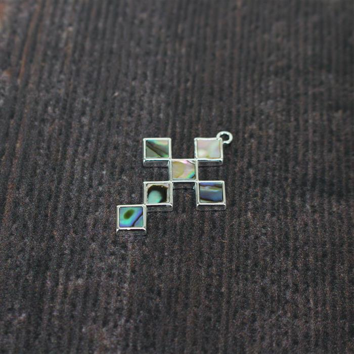 925 Sterling Silver Abalone Cross Pendant Approx. 32 x 22mm