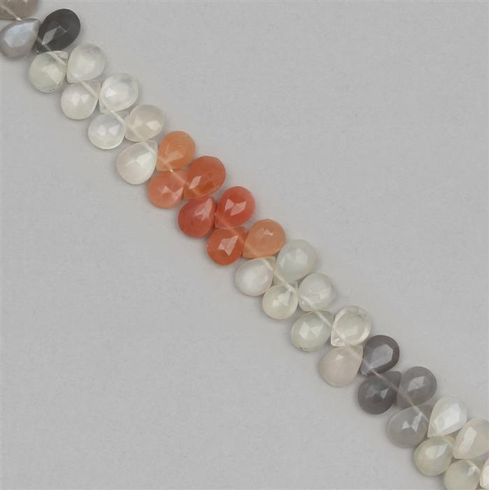 85cts Multi Colour Moonstone Graduated Faceted Pears Approx 8x6 to 10x7mm, 18cm Strand.