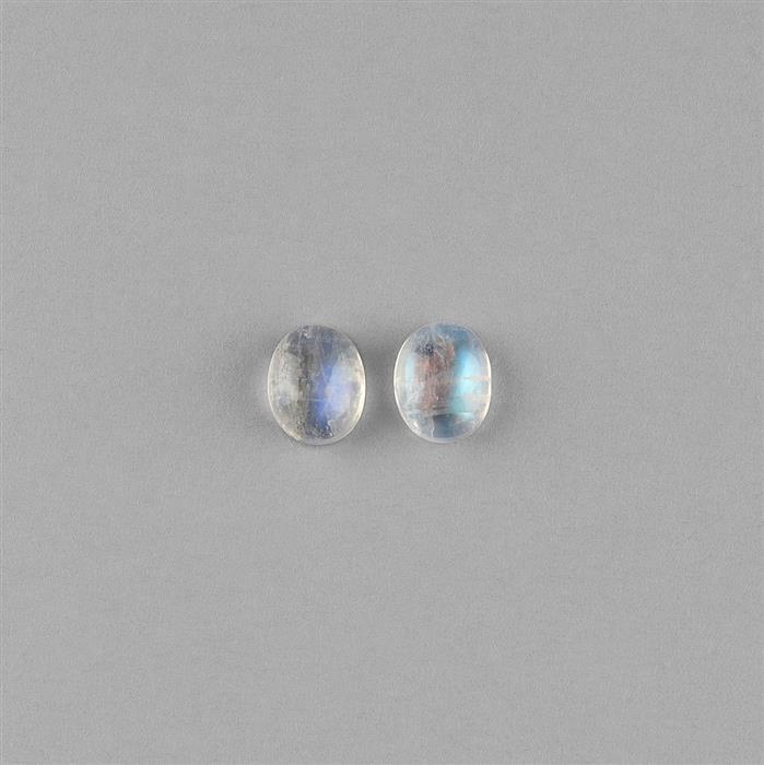6cts Rainbow Moonstone Oval Cabochons 10x8mm. (Pack of 2)