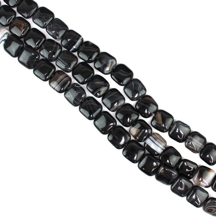 Triple Trouble 3x 300cts Black Stripe Agate Puffy Squares Approx 16mm, 38cm/strand